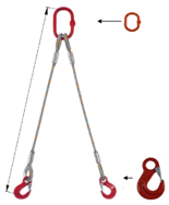 33948371 Zawiesie linowe dwucięgnowe miproSling HE 40,0/29,0 (długość liny: 1m, udźwig: 29-40 T, średnica liny: 52 mm, wymiary ogniwa: 400x200 mm)