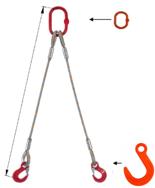 33948376 Zawiesie linowe dwucięgnowe miproSling FW 15,0/11,0 (długość liny: 1m, udźwig: 11-15 T, średnica liny: 32 mm, wymiary ogniwa: 275x150 mm)
