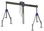 33959995 Wciągarka bramowa aluminiowa z wózkiem pchanym i wciągnikiem łańcuchowym miproCrane DELTA 400M (udźwig: 1000 kg, szerokość: 5100 mm, wysokość: 1640/2740 mm)