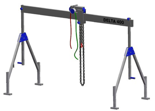 33960008 Wciągarka bramowa aluminiowa z wózkiem pchanym i wciągnikiem łańcuchowym miproCrane DELTA 400S (udźwig: 1500 kg, szerokość: 5100 mm, wysokość: 2120/3370 mm)