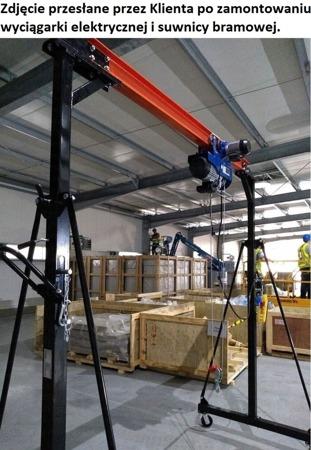 322+45671585 Suwnica, mobilny dźwig + wys linowa elekt z wózkiem (suwn: 1000 kg, szer: 2300mm, wys podn: 2500-3600mm, wyciągark 600/1200kg, lina: 12m)