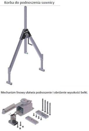 99968046 Suwnica bramowa aluminiowa z kołami + specjalne zblocze i wciągnik ręczny (udźwig suwnicy/wciągnika: 1000/1000 kg, szerokość: 4,23m, wysokość: 3,885m, wys. dla pracy wciągarki: 2,23-3,50 m)