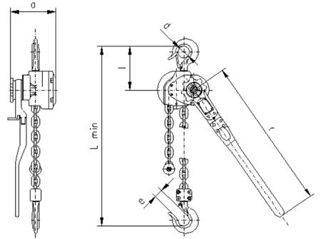 DOSTAWA GRATIS! 2209146 Wciągnik dźwigniowy, rukcug z łańcuchem ogniwowym RZC/6.3t (wysokość podnoszenia: 3,5m, udźwig: 6,3 T)