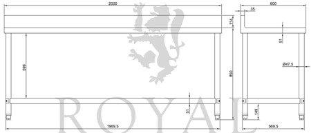 DOSTAWA GRATIS! 4564344 Stół roboczy ze stali nierdzewnej z kantem Royal Catering (wymiary: 60 x 200 x 96,4 cm)