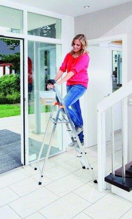 DOSTAWA GRATIS! 99674623 Aluminiowa drabina domowa Krause Safety 4 stopniowa (wysokość robocza: 2,85m)