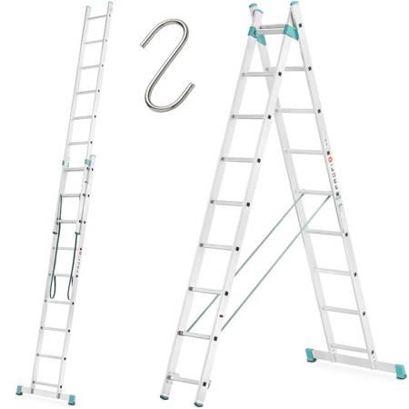 DOSTAWA GRATIS! 99674730 Drabina aluminiowa Aloss 2x9 na schody (wysokość robocza: 5,40m)