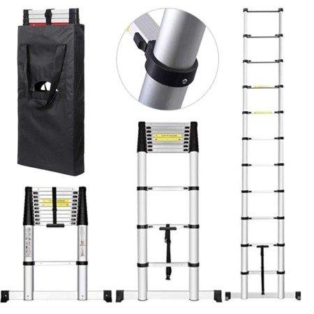 DOSTAWA GRATIS! 99674989 Drabina aluminiowa teleskopowa przystawna + torba (wysokość robocza: 5,1m)