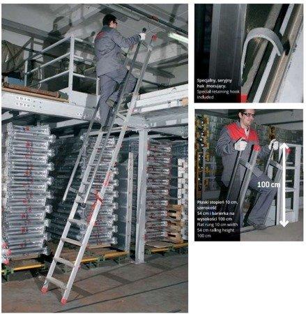 DOSTAWA GRATIS! 99675042 Drabina aluminiowa schody z poręczami FARAONE (wysokość robocza: 4,00m)