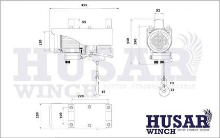 HUBER Wyciągarka linowa Husar z pilotem bezprzewodowym (uźwig: 300/600 kg, maks, wysokosć podnoszenia: 18m / 9m, moc: 1500 W) 51971683