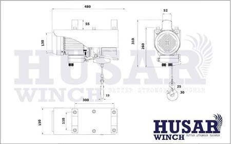 HUBER Wyciągarka linowa Husar z pilotem bezprzewodowym (uźwig: 500/990 kg, maks, wysokosć podnoszenia: 18m / 9m, moc: 2100 W) 51971685