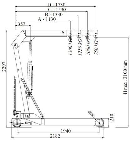 HYDIA Żuraw hydrauliczny ręczny (udźwig: od 750 do 1500kg) 6177833