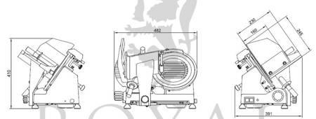 Krajalnica elektryczna do wędlin, mięsa i serów Royal Catering (moc: 180W, średnica noża: 250mm, grubość cięcia: 0-12mm) 45643464