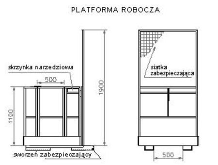 Platforma robocza PR120 (wymiary: 1200 x 1200 x 1800 mm) 2903588