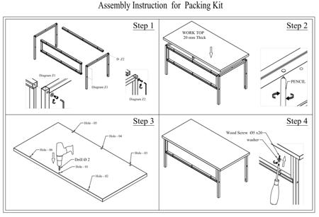 SWARK Zestaw do pakowania do stołów roboczych GermanTech, bez stołu! (szerokość cięcia: 1300 mm) 99724952