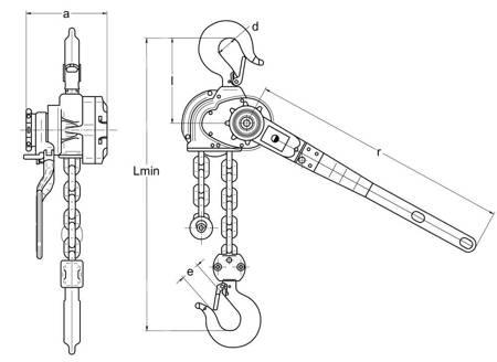 Wciągnik łańcuchowy dźwigniowy (wysokość podnoszenia: 5,5m, udźwig: 1,6 T) 22076845